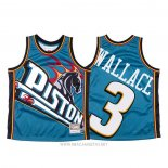 Camiseta Detroit Pistons Ben Wallace NO 3 Mitchell & Ness Big Face Azul