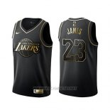 Camiseta Golden Edition Los Angeles Lakers Lebron James NO 23 Negro