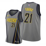 Camiseta Indiana Pacers Thaddeus Young NO 21 Ciudad Edition Gris