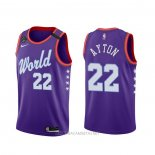 Camiseta 2020 Rising Star Deandre Ayton NO 22 World Violeta