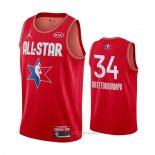 Camiseta All Star 2020 Milwaukee Bucks Giannis Antetokounmpo NO 34 Rojo