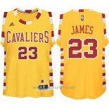 Camiseta Cleveland Cavaliers LeBron James NO 23 Retro Amarillo