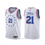 Camiseta Philadelphia 76ers Joel Embiid NO 21 Earned Blanco