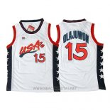 Camiseta USA 1996 Hakeem Olajuwon NO 15 Blanco