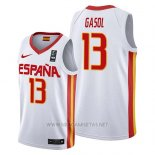 Camiseta Espana Marc Gasol NO 13 2019 FIBA Baketball World Cup Blanco