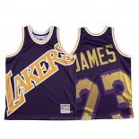 Camiseta Los Angeles Lakers Lebron James NO 23 Mitchell & Ness Big Face Violeta