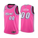 Camiseta Miami Heat Earned 2018-19 Rosa Personalizada