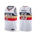 Camiseta New Orleans Pelicans E'twaun Moore NO 55 Earned Blanco