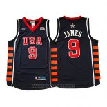 Camiseta USA 2004 Lebron James NO 9 Azul