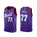 Camiseta 2020 Rising Star Luka Doncic NO 77 World Violeta