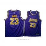 Camiseta Los Angeles Lakers Lebron James NO 23 Violeta