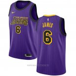 Camiseta Los Angeles Lakers Lebron James NO 6 2019-20 Ciudad Violeta