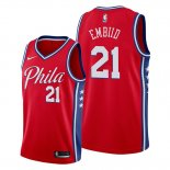 Camiseta Philadelphia 76ers Joel Embiid NO 21 Statement Edition Rojo