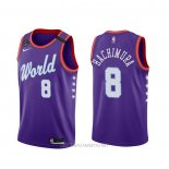 Camiseta 2020 Rising Star Rui Hachimura NO 8 World Violeta