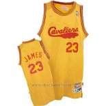 Camiseta Cleveland Cavaliers LeBron James NO 23 Retro 2009 Amarillo