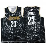 Camiseta Luces de la ciudad Los Angeles Lakers LeBron James NO 23 Negro